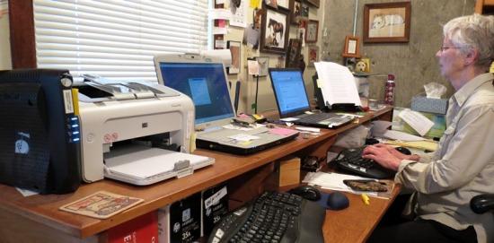 Linda at her computer desk 2017--6-4