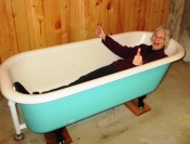 Linda testing the new clawfoot tub 2017