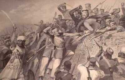 Lucknow Siege - steel engraving circa 1860 - unknown artist