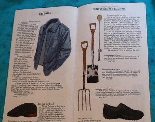 J Peterman 1930s jacket and gardening equipment
