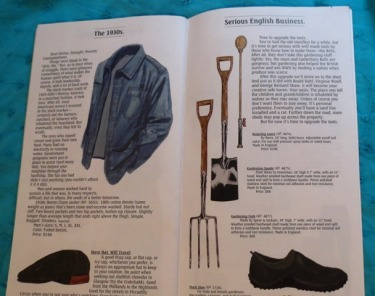 J Peterman 1930s jacket and gardening equipment