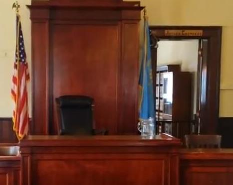Courtroom door to Judges chamber