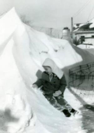 Linda in snow after 1949 Blizzard Rapid City