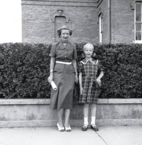Mildred and Linda at Custer County Courthouse 1953