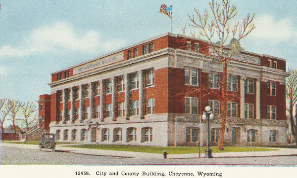 old postcard Cheyenne City County Building