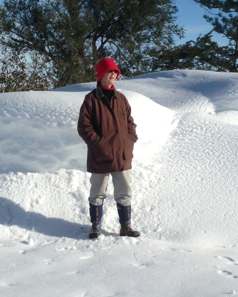 Linda after blizzard big drift 2013--10-6