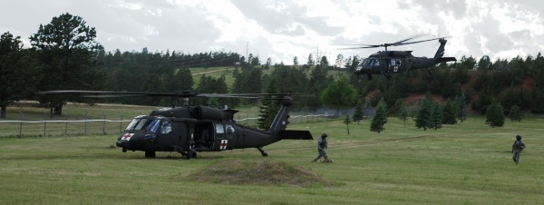 Golden Coyote - US Army HH-60M Medevac helicopters training at West Camp Rapid