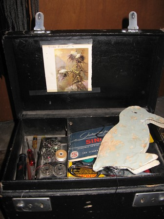 Grandmother sewing box and pin-holder penguin
